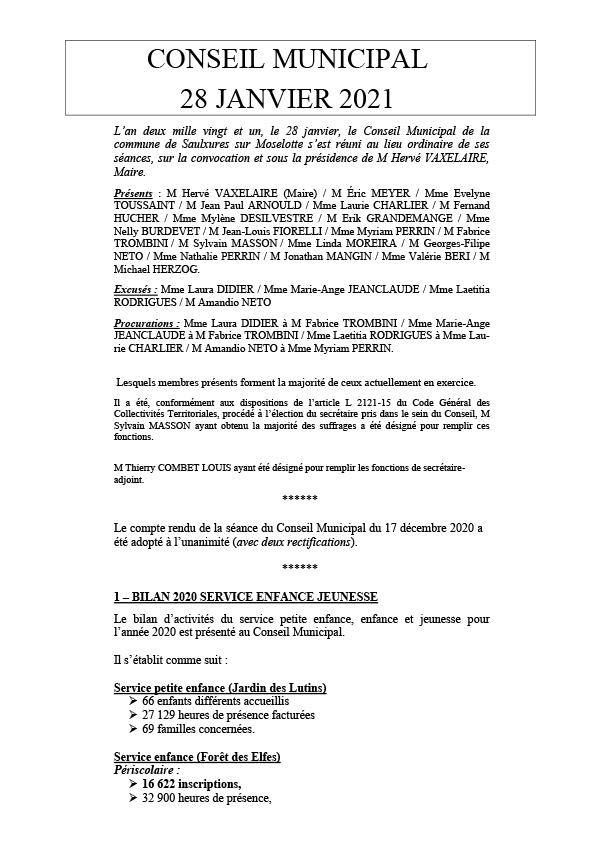 COMPTE RENDU — CONSEIL MUNICIPAL — 28/01/2021