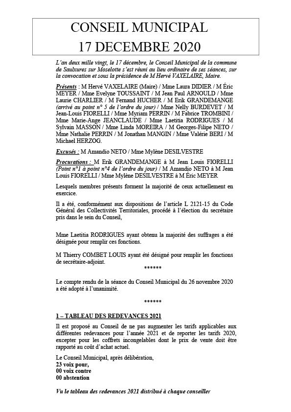 COMPTE RENDU — CONSEIL MUNICIPAL — 17/12/2020