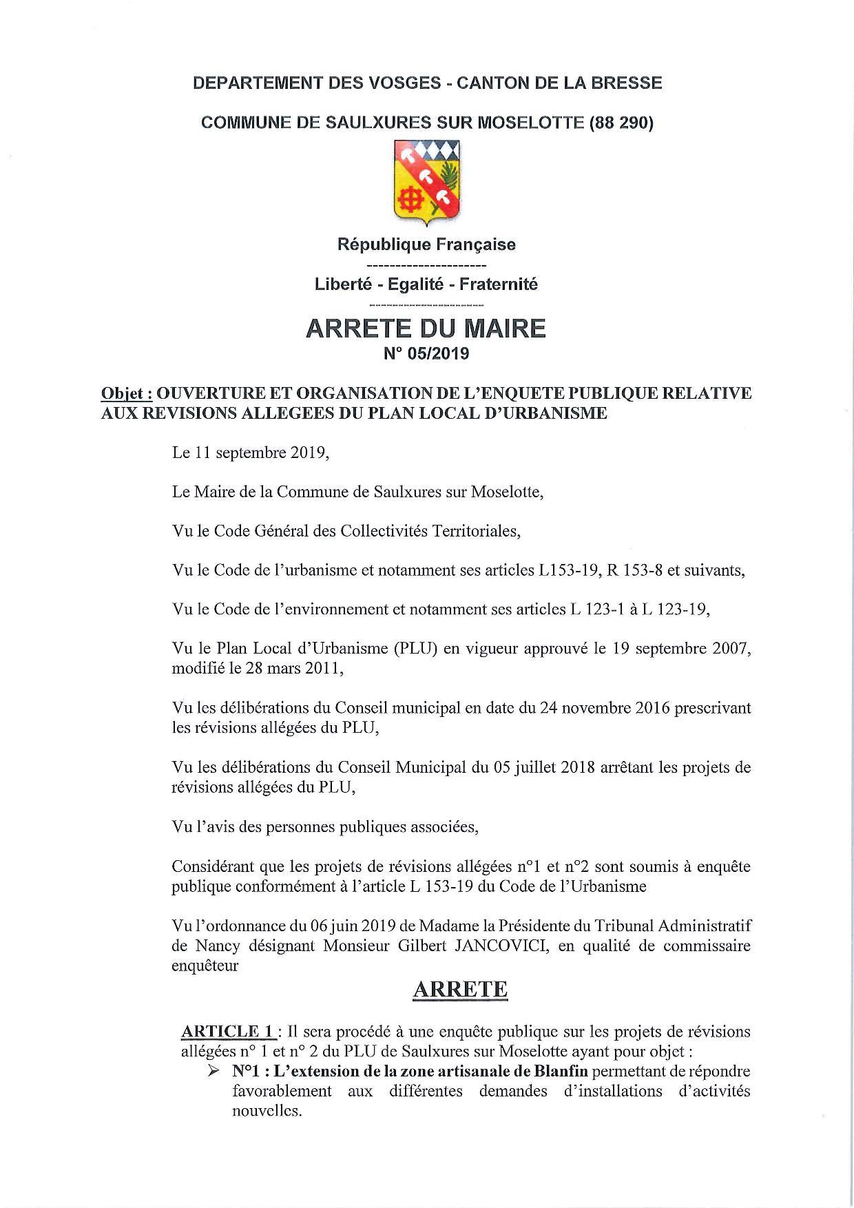 ARRETE DU MAIRE N°05 2019 ENQUETE PUBLIQUE REVISIONS ALLEGEES PLU SAULXURES