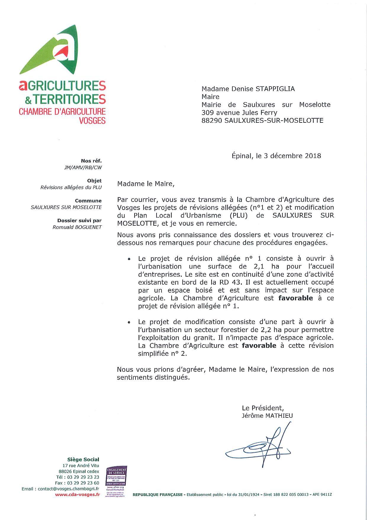 AVIS CHAMBRE D'AGRICULTURE2018