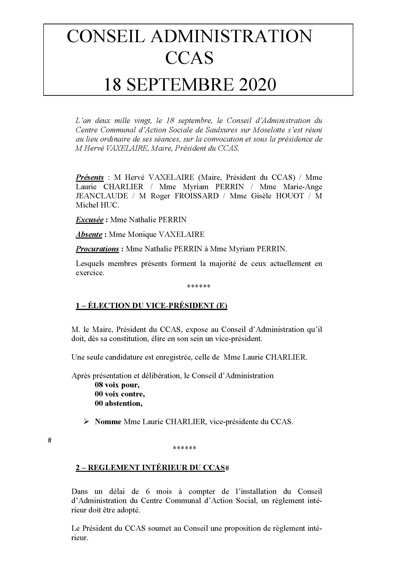 COMPTE RENDU CCAS 18 SEPTEMBRE 2020