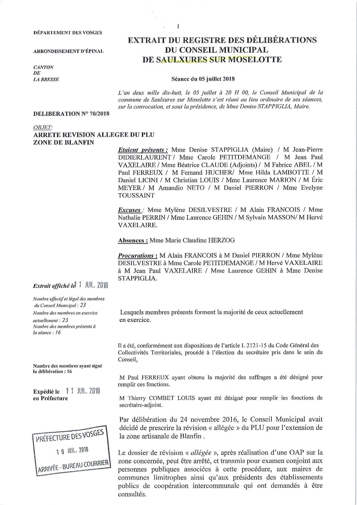 DELIBERATION DU CONSEIL MUNICIPAL 05 JUILLET 2018 ARRETE DOSSIER DE REVISION ALLEGEE DU PLU ZONE DE BLANFIN