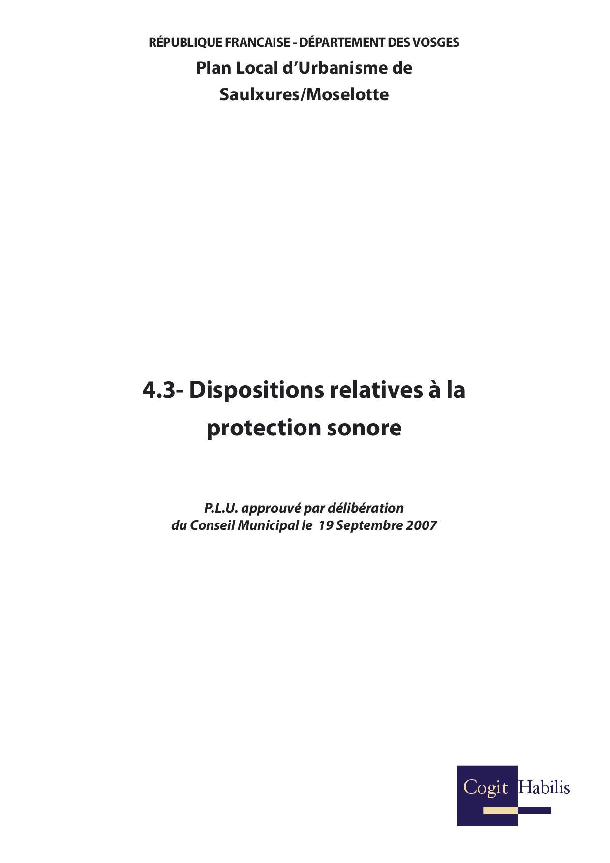 DISPOSITIONS RELATIVE A LA PROTECTION SONORE
