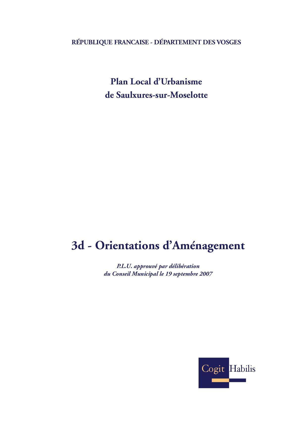 ORIENTATIONS D'AMENAGEMENT