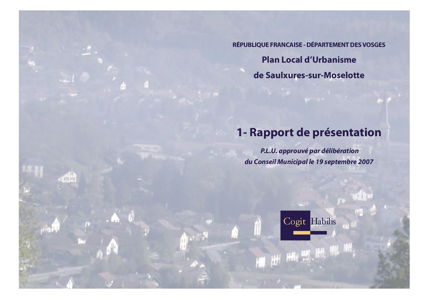 RAPPORT DE PRESENTATIONPLU