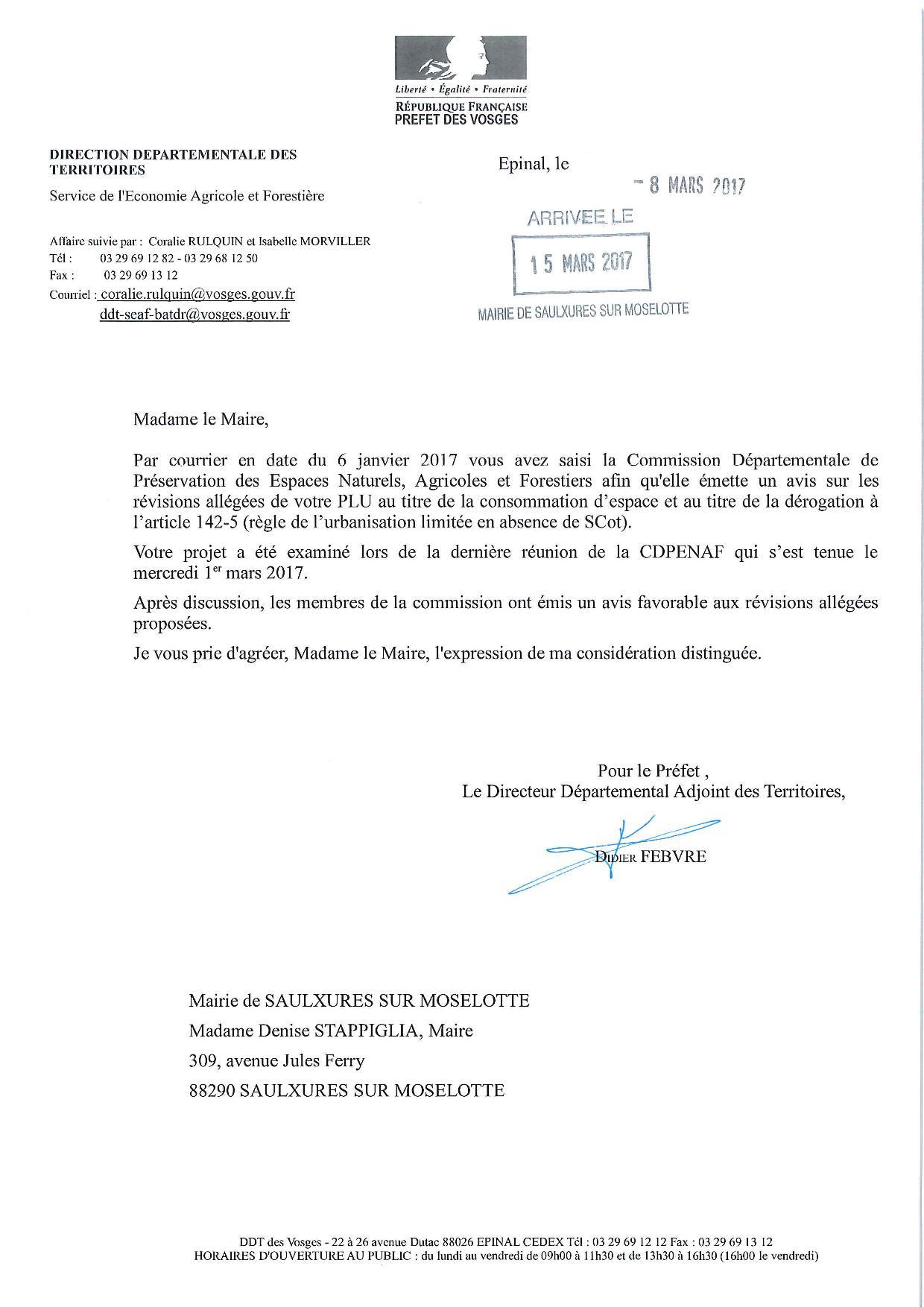 AVIS DE LA CDPNAF